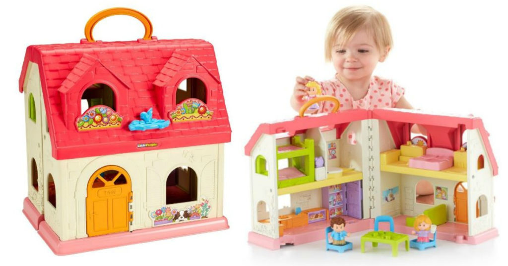 girl playing with a fisher price dollhouse